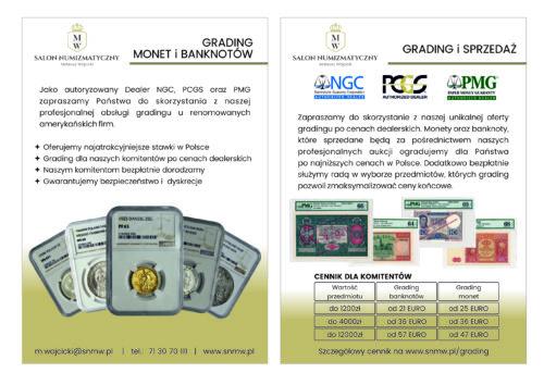 grading monet i banknotów